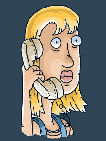 prank: A cartoon woman receives a spooky phone call.