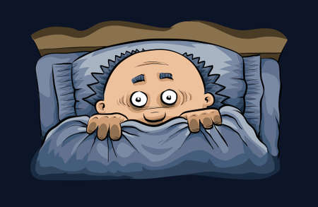A cartoon man cowers under the covers in bed at night. Vector