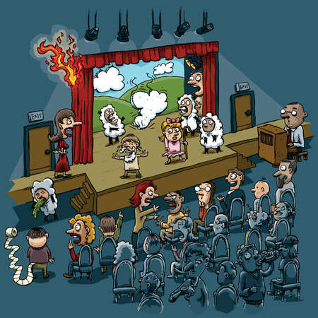 Multiple disasters plague a cartoon school play performance. Illustration