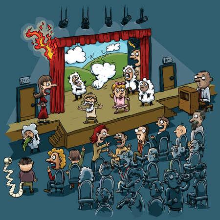 plague: Multiple disasters plague a cartoon school play performance. Illustration