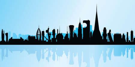 science fiction: Een skyline silhouet van een futuristische, science fiction stad waterkant.