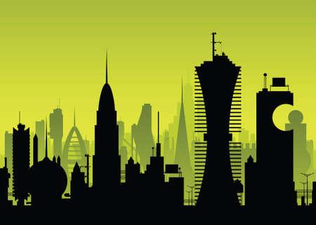 Een skyline silhouet van een futuristische, science fiction stad.