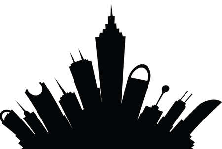 science fiction: A cartoon skyline silhouette of a science fiction city of the future.