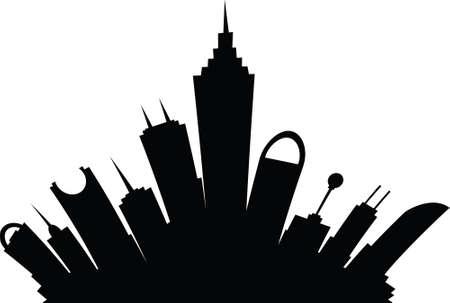 science fiction: Een cartoon skyline silhouet van een science fiction stad van de toekomst.