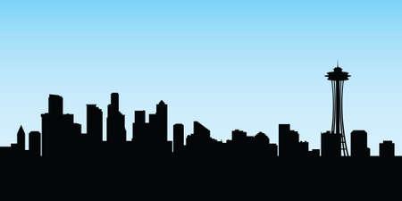 seattle: Skyline silhouette of the city of Seattle, Washington, USA. Illustration