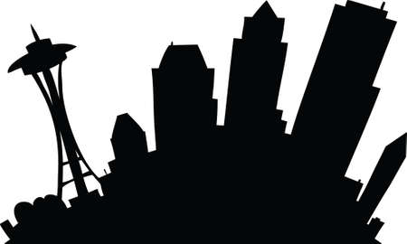 seattle: Cartoon skyline silhouette of the city of Seattle, Washington, USA.