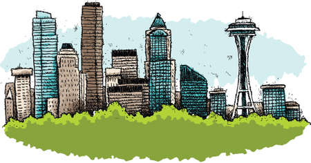 A cartoon of the downtown of the city of Seattle, Washington, USA.