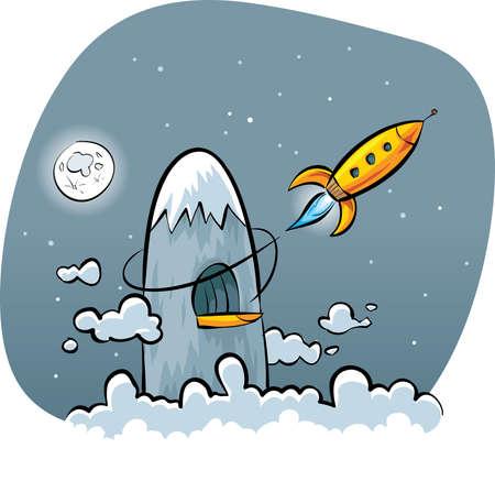 hideout: A cartoon rocket blasts off from a secret mountain base. Illustration