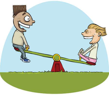 Een cartoon jongen en meisje met plezier op een wip. Stock Illustratie