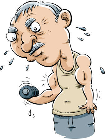 A cartoon senior man lifts weight to exercise his biceps.