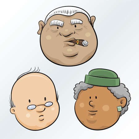 tough man: A set of cartoon senior faces.