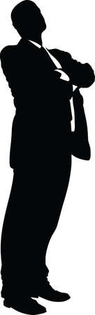 A silhouette of a powerful businessman, standing with his arms crossed.