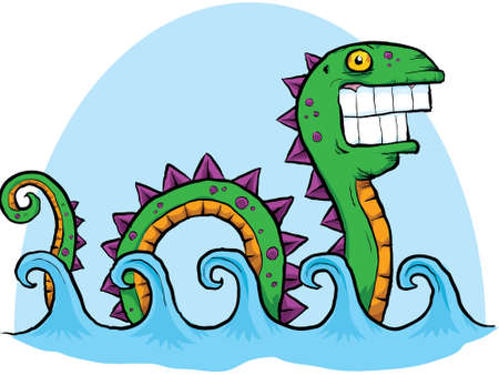 A cartoon sea serpent rolls along the waves in the sea. Vector