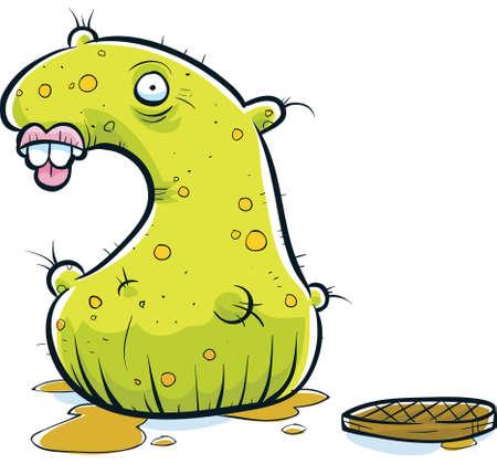 wart: A green monster emerges from an open sewer.