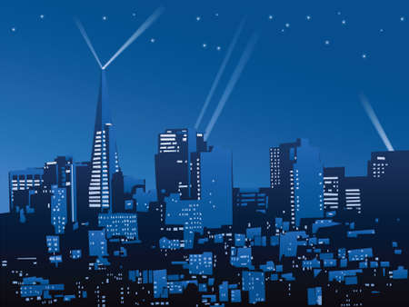 francisco: Night skyline of the city of San Francisco, California, USA.  Illustration