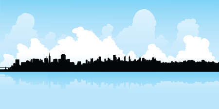 bay area: Skyline silhouette of the city of San Francisco, California, USA.