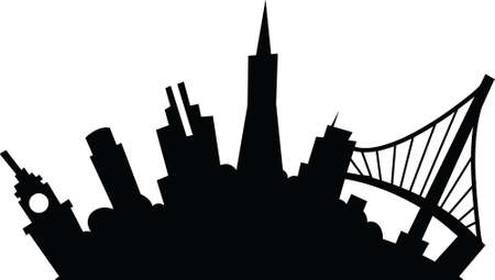 city building: Cartoon skyline silhouette of the city of San Francisco, California, USA.