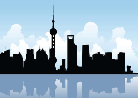 shanghai: Skyline silhouette of the city of Shanghai, China.