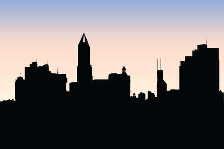 financial district: Skyline silhouette of the city of Shanghai, China.