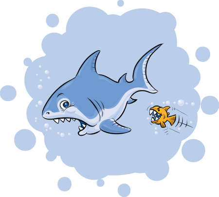 role reversal: A large, cartoon shark is shocked to be attacked by a tiny fish.