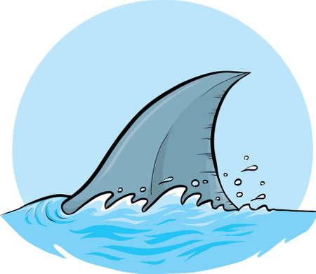 A cartoon dorsal fin of a shark. Vector