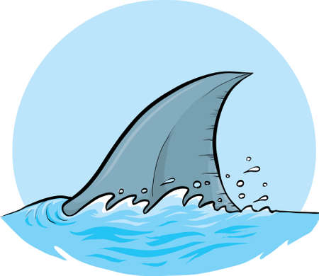 A cartoon dorsal fin of a shark.
