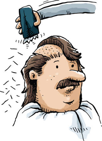 clippers: A cartoon man has his head shaved with clippers.