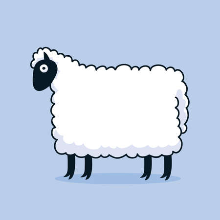A cartoon sheep standing and looking ready to shear.