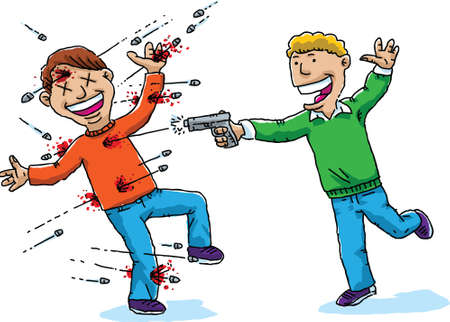 Young man playfully shooting his friend