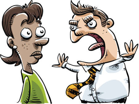 boss cartoon: An angry cartoon boss shouts at an employee. Illustration