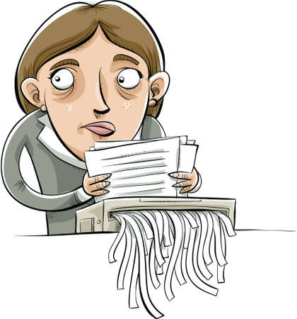 shreds: A cartoon businesswoman shreds paper documents with a guilty look on her face. Illustration