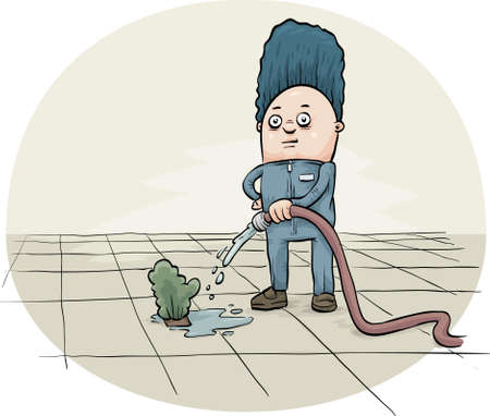 plant stand: A cartoon worker waters a single shrub, surrounded by a field of concrete. Illustration