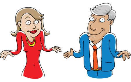 A cartoon couple shrugging.