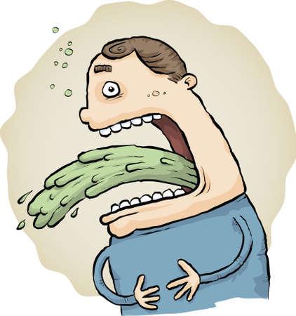 A cartoon man vomits a stream of green vomit. Vector