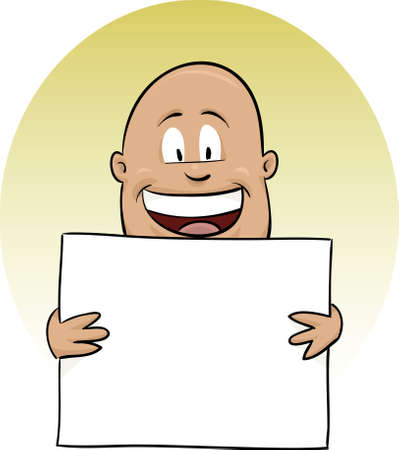 man holding a blank sign: A smiling, cartoon man holding a blank sign.