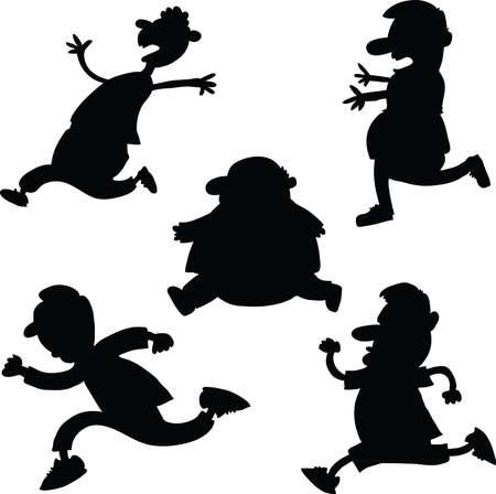 Set of cartoon silhouettes of running men. 向量圖像