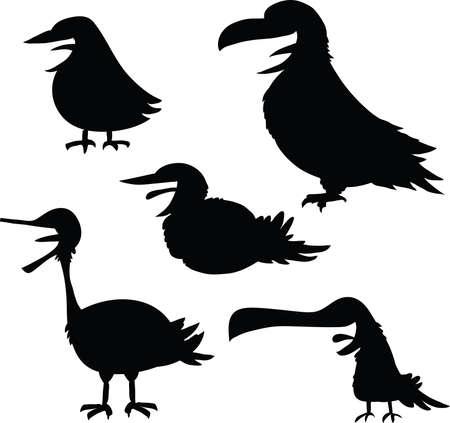 variety: Cartoon silhouette set of a variety of birds.
