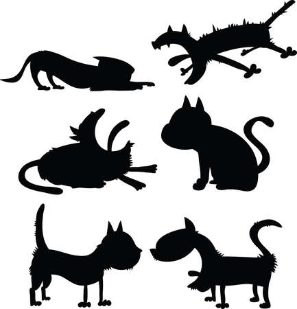 A set of cartoon cat silhouettes. Vector