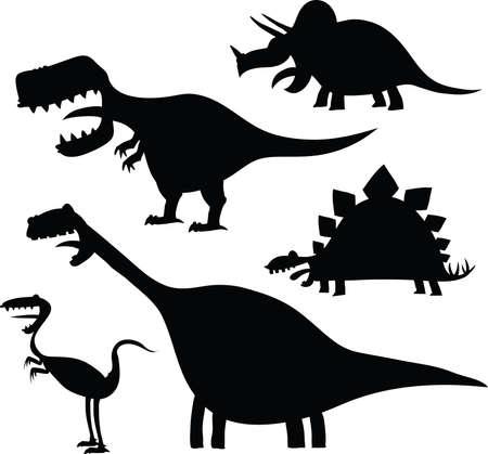 dinosaur cartoon: Un conjunto de siluetas de dinosaurios de dibujos animados.