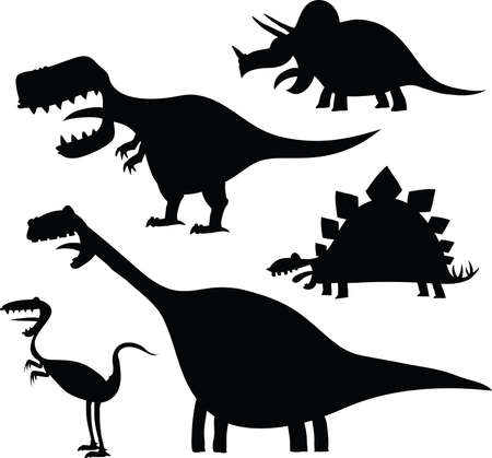 dinosaurio: Un conjunto de siluetas de dinosaurios de dibujos animados.