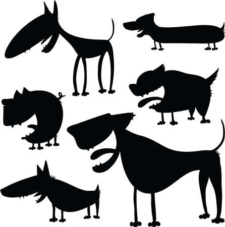 animal silhouette: A set of cartoon dog silhouettes. Illustration