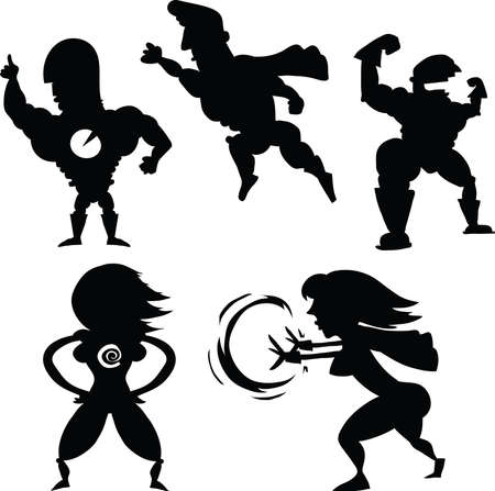 A set of cartoon superhero silhouettes. Vector