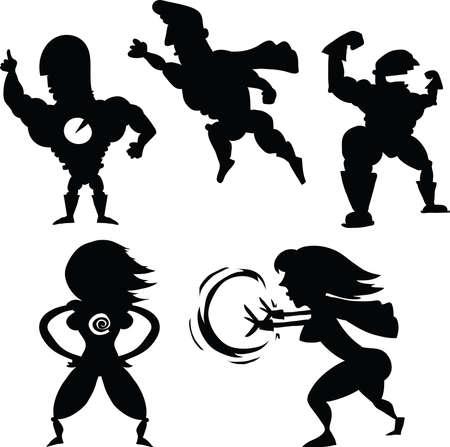 superpower: A set of cartoon superhero silhouettes.