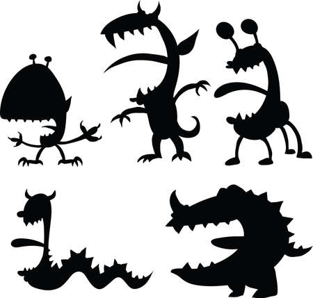 A set of cartoon silhouettes of monsters. Vector