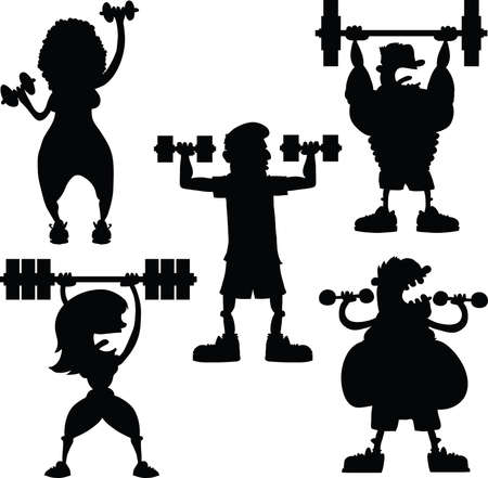 A set of cartoon men and women silhouettes working out with weights.