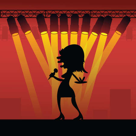 A cartoon silhouette of a pop star performing in concert.