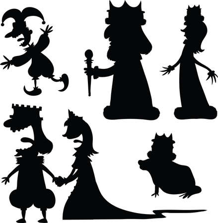 Set of cartoon silhouette characters from a royal court. Vector