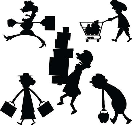 A set of cartoon silhouettes of people carrying shopping packages and bags. Vector