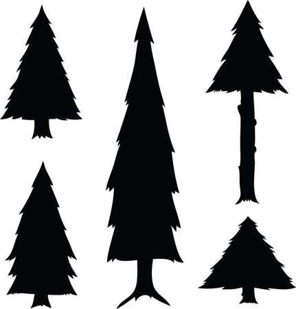 arbre     ? � feuillage persistant: Un ensemble de feuilles persistantes de bande dessin�e silhouettes d'arbres.