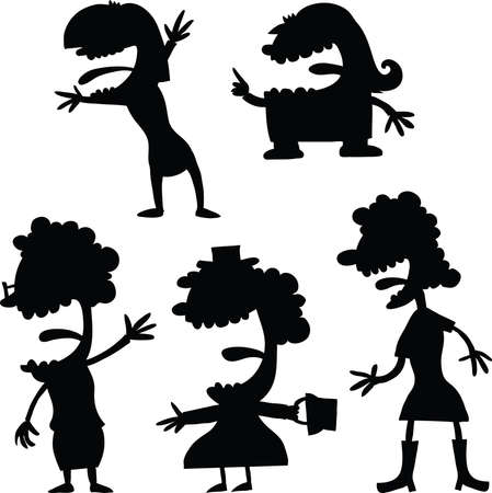 silhouettes: A set of happy cartoon women silhouettes.